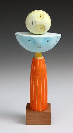 Ceramic clay art totem sculpture Christine Kaiser - Moon Cassandra