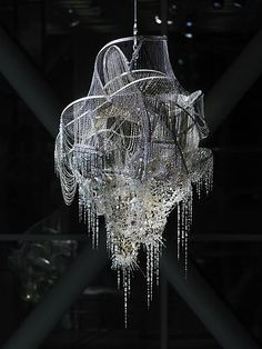 """Chandelier-like"" sculpture - crystal, glass and acrylic beads on nickel-chrome wire, stainless steel - ""Sternbau No. 4"" by artist Lee Bul, 2007"