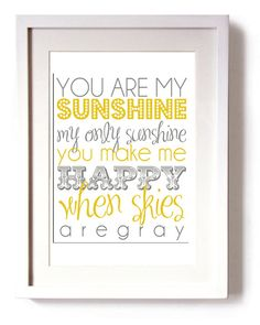Subway Art Baby Nursery Wall Art You Are My by BeauChicPrints. $14.00, via Etsy.
