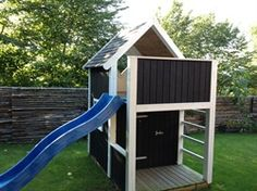 DIY Kids playhouse outdoor: like the colour scheme - wood and dark colour. More modern, less kid Kids Playhouse Plans, Outside Playhouse, Backyard Playhouse, Build A Playhouse, Kids Outdoor Play, Outdoor Fun, Diy Kids Furniture, Furniture Projects, Backyard Buildings