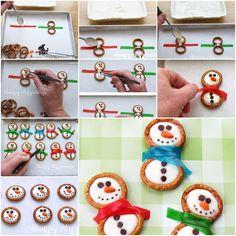 DIY Cute Frosty Snowman Pretzels