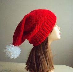Oversized Christmas Hat Super Slouchy Pom Pom Hat by GrahamsBazaar