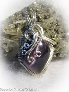 Grape Purple Cat's Eye Wire Wrapped Stone by superioragates, $35.00