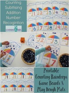 Printable Counting Raindrops Game Boards & Play Dough Mats - 21 pages. Great for counting, subitising, addition and number recognition Math Activities For Kids, Counting Activities, Math For Kids, Creative Activities, Fun Math, Classroom Activities, Preschool Crafts, Crafts For Kids, 4 Kids