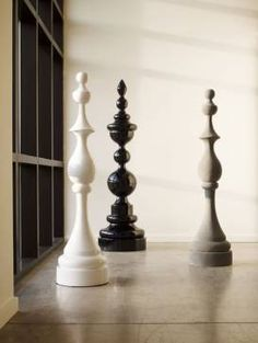 Large Black Resin Chess Sculpture | Mecox Gardens