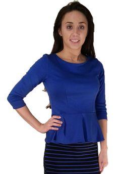 Ponte Roma Peplum Top - Royal Blue - $22.00 :: DCM Apparel - Modern Modest Clothing