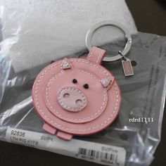 NWT COACH Patent Leather Pig Pink Key chain Keyring KEY FOB NEW #Coach #CoachPig