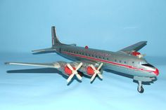Yonezawa American Airlines DC7 Vintage Battery Operated Tin Toy. http://toysoftimespast.com/