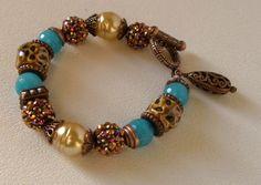 Turquoise Agate Handmade Beaded Bracelet por bdzzledbeadedjewelry