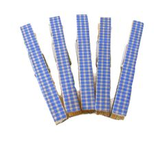 Decorative Clothespins Wood Blue Gingham Full Size Set of 5 Memorial Day Picnic Magnet Option