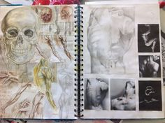 Anatomy Drawing Medical Anatomy pages with studies A Level Art Sketchbook, Sketchbook Layout, Textiles Sketchbook, Arte Sketchbook, Sketchbook Pages, Sketchbook Inspiration, Sketchbook Ideas, Anatomy Art, Anatomy Drawing
