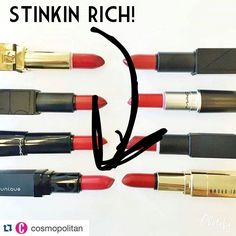 Top red lipstick for the season by cosmopolitan magazine. Younique Stinkin Rich is the best! Great for holidays