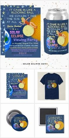 Total Solar Eclipse August 21 2017 Funny Viewing Party Invitations Plus T-Shirt Souvenirs and More | Check out the whole collection: https://www.zazzle.com/collections/solar_eclipse_2017_viewing_party-119784835218062894?rf=238713858877306074&TC=pin