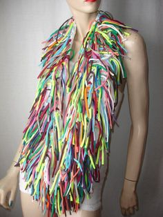womens shredded, braided, fringed, cotton jersey eternity scarf, infinity scarf, tshirt scarf. multi colored fringe