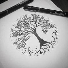Tree of Life tatoo Tattoo Life, Tattoo On, Mandala Tattoo, Tattoo Drawings, Tattoo Neck, Sketch Tattoo, Tattoo Small, Bild Tattoos, Mom Tattoos