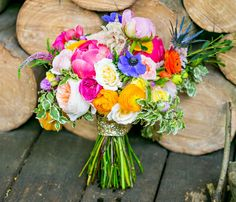 colorful bouquet with peonies, ranunculus, garden roses, thistles and more!
