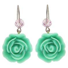 """Rosemount"" Floral Drop Earrings featuring polyvore, fashion, jewelry, earrings, titanium jewelry, swarovski crystal earrings, tarina tarantino, floral earrings and floral jewelry"