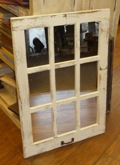 Barn Wood 9-Pane Window Mirror Vertical Rustic Home Decor Mirror (Many Colors!)
