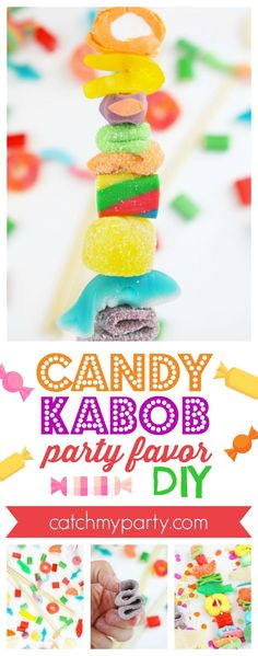Candy Kabob party favor | CatchMyParty.com #catchmyparty #partyfavor #candy #candybirthdayparty