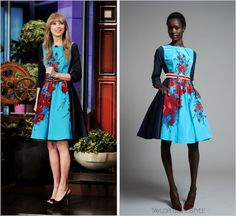 The Tonight Show with Jay Leno | February 20, 2012 Tracy Reese Pre-Fall 2012 It's so nice to see Taylor branching out in pops of colour, aside from her go-to shade of red. Love this floral frock.