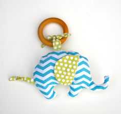 Organic Elephant in Chevron Blue TEETHING ring by GrowingUpWild, $18.00