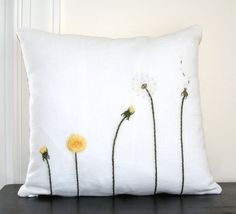 Dandelion Life Cycle Pillow Cover Hand Embroidered,