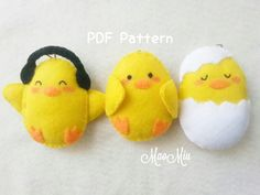 Cute Easter Chicks Ornament / Keychain PDF Pattern