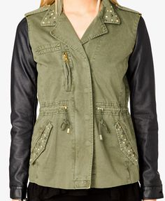 Faux Leather Sleeve Utility Jacket | FOREVER21 - 2023229863 $42