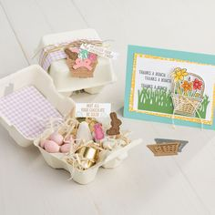 """Mini Egg Cartons by Stampin Up! Fun containers perfectly sized to hold small goodies. 4 """"egg"""" sections per carton. Size when closed: x x 7 cm. Egg Carton Crafts, Sweet Box, Mini Eggs, Easter Projects, Scrapbooking, Stamping Up Cards, Easter Treats, Happy Easter, Decoration"""