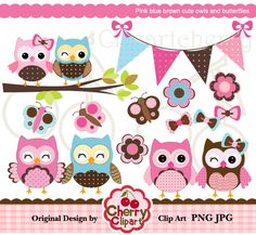 Pink blue brown cute owls and butterflies digital clipart set for-Personal and Commercial Use-Card Design, Scrapbooking, and Web Design. $5.00, via Etsy.
