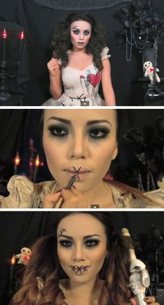 Extremes Make-up Creepy Halloween Costumes, Creepy Doll Costume, Last Minute Halloween Costumes, Halloween 2016, Halloween Looks, Halloween Cosplay, Halloween Decorations, Vodoo Doll Costume, Diy Voodoo Doll Costume