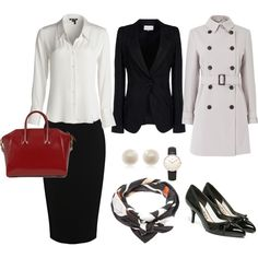 Conservative Professional Style. Great for working in law or banking #conservative #professional #work #business #businessattire #fashion #black #white #red #beige #cream #silkblouse #silk #leather #givenchy #tote #hermes #hermesscarf #vintagehermes #salvatoreferragamo #ferragamo #ferragamoshoes #ferragamopumps #bowshoes #topshop #pearlstuds