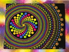 This dot painting is one of my originals, I have been enjoying doing swirl pattern mixed with mandala lately, I hope you like the combination too. I have painted it with vibrant multicoloured Acrylic paints, it is painted on a flat canvas board measuring 10 x 12 or 254mm x 305mm, I planned it off centre as I think it looks appealing, the patchy multicolour border in the background is for decoration purposes.I must say the more paintings I do the more I look forward to creating something…