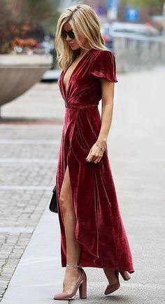 vestido sexy - vestido sensual - vestido vermelho - vestido com fenda - vestido longo - veludo molhado - tendência - style - moda