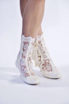 Our beautiful 'Lottie Elliot' lace wedding boots.   Photo Credits   Photography - @danielmoncoeur   Model - @tarakirsty_  