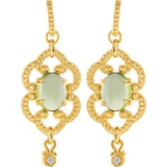 14K Yellow and Peridot Etruscan-style dangle earrings. Find them at a jeweler near you: www.stuller.com/locateajeweler
