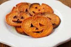 HaLLoWeeN..Jack-o-Lantern Sweet Potato Fries  These yummy fries are brimming with healthy vegetable goodness, packed into tasty bite-sized, pumpkin-shaped rounds.   Make jack-o-lantern sweet potato fries