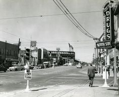 St. Louis Mo. St. Louis Avenue and Grand Boulevard with Sportsman's Park in the background. (1940)