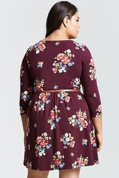 Product Name:Plus Size Belted Floral Mini Dress, Category:CLEARANCE_ZERO, Price:19.9