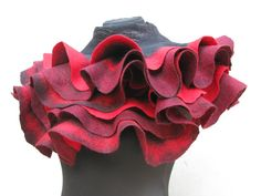 Handmade Felted shawl scarf wrap Red black burgundy ruby red wine with belt