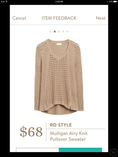 Dear Stitch Fix Stylist - I love how casual and loose this knit sweater is. I could wear it in Florida because its not too hot and would perfect for every day wear. RD Style, Mulligan Airy Knit Pullover Sweater