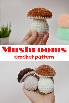 Crochet Food, Cute Crochet, Crotchet, Crochet Crafts, Beginner Crochet Projects, Crochet For Beginners, Crochet Mushroom, Easy Amigurumi Pattern, Porcini Mushrooms
