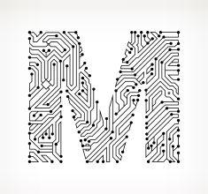 Letter D Circuit Board on White Background vector art illustration ...