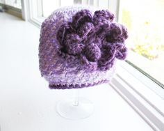 BLOOMING VIOLET : baby girl crochet hat with flower 0-3 months. $18.00, via Etsy.