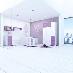 Colección EVOLUTIVE Alondra. Habitación infantil color violeta con detalle serigrafiado. Un lugar mágico para tu bebé