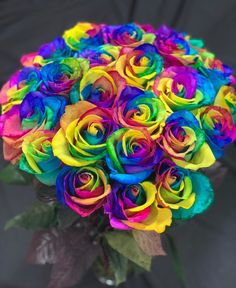 🌈 Colors so vibrant you can't help but stare. Beautiful Rose Flowers, All Flowers, Purple Flowers, Beautiful Things, Wedding Flowers, Congratulations Flowers, Rainbow Flowers, Rainbow Colors, Pink Rose Bouquet