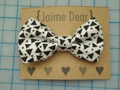 Black and White Geometric Fabric Hair Bow Clip for Women, Teens, Girls. $3.25, via Etsy.