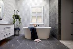 The Block 2020: Master Ensuite Reveals The Block Bathroom, White Bathroom Tiles, Bathroom Renos, White Tiles, Design Bathroom, Fish Scale Tile, Smart Toilet, Beaumont Tiles, Pink Towels