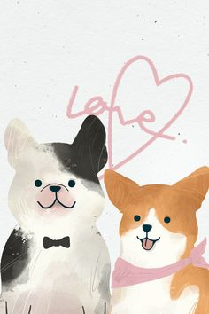 Dog wedding day watercolor illustration | premium image by rawpixel.com / nunny Wedding Drawing, Wedding Painting, Cute Illustration, Watercolor Illustration, Dog Wedding, Wedding Day, Happy Birthday Crown, Cute Pug Puppies, Greyhounds