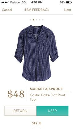 Ah, my love of polka dots!  I want this one even if it is polyester.  Preferably in black,not navy.  My closet is getting overrun with navy.